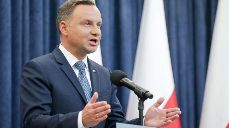 Prezydent Andrzej Duda podczas oświadczenia ws. ustaw o reformie sądownictwa