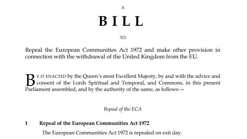 Projekt ustawy European Union (Withdrawal) Bill