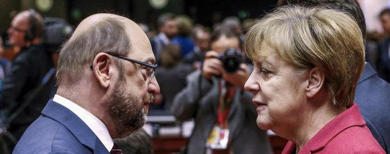Lider SPD Martin Schulz i kanclerz Niemiec Angela Merkel