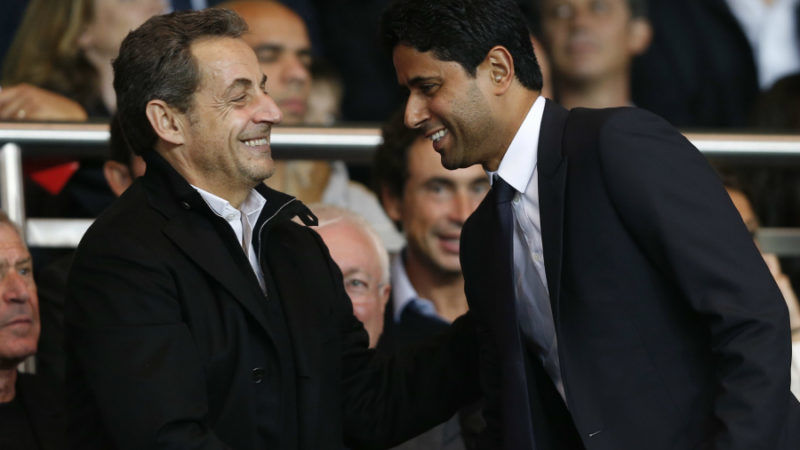 Były prezydent Francji Nicolas Sarkozy i prezes PSG Nasser Al-Khelaifi