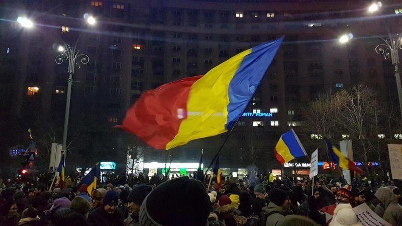 Manifestacja w Bukareszcie, źródło Wikipedia