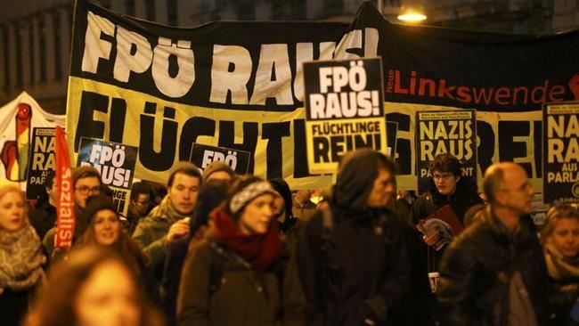 Protest przeciw partii FPÖ, źródło Wikipedia