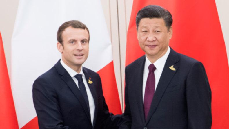 Emmanuel Macron i Xi Jinping, źródło Pałac Elizejski