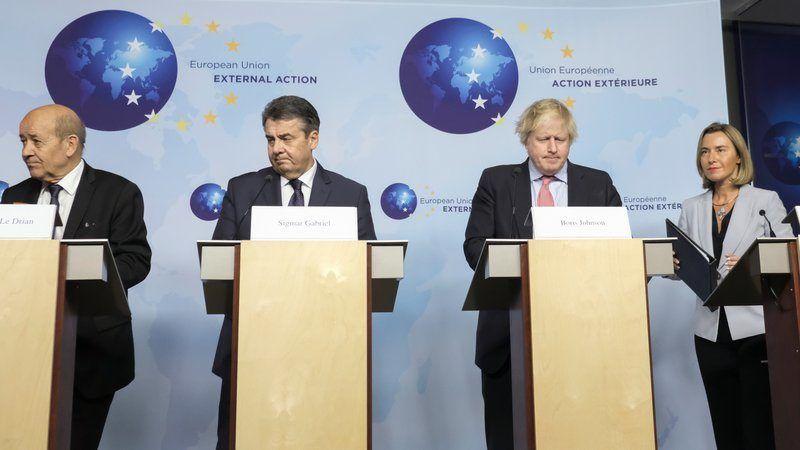 Jean-Yves Le Drian, Sigmar Gabriel, Boris Johnson i Federica Mogherini, źródło Komisja Europejska