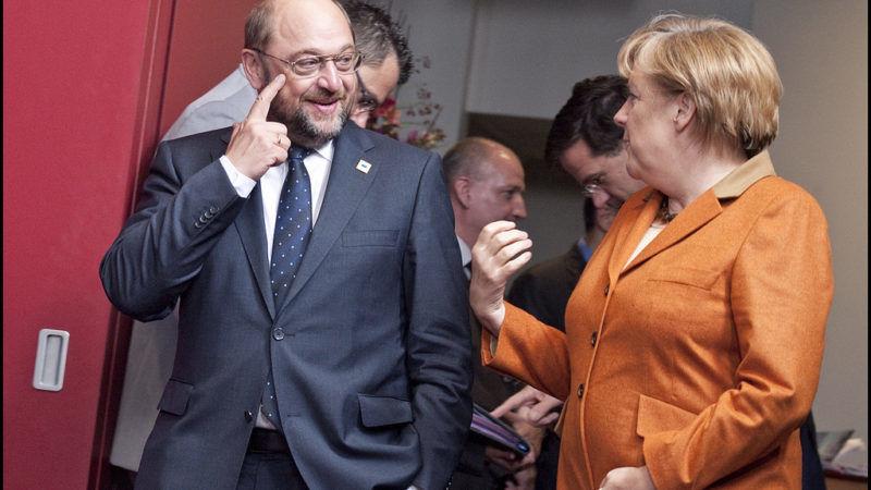 Martin Schulz i Angela Merkel, źródło Flickr