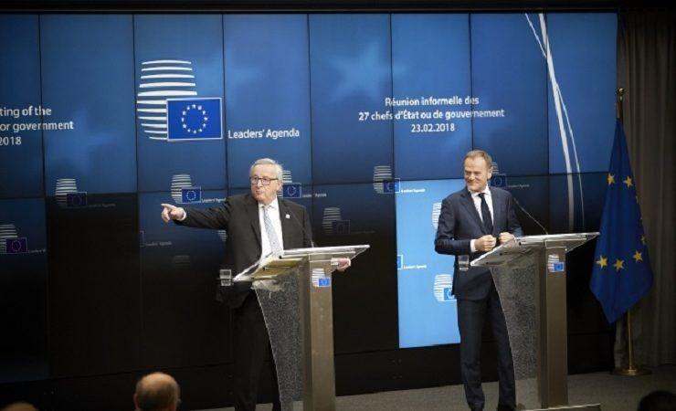 Szefowie KE i Rady Europejskiej Jean-Claude Juncker i Donald Tusk, konf.pras. po nieformalnym szczycie UE, źródło consilium