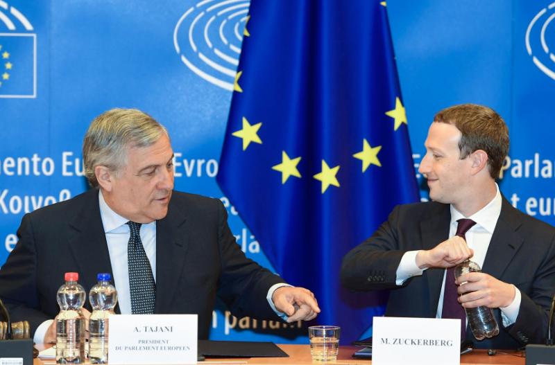 Antonio Tajani i Mark Zuckerberg, źródło: European Parliament