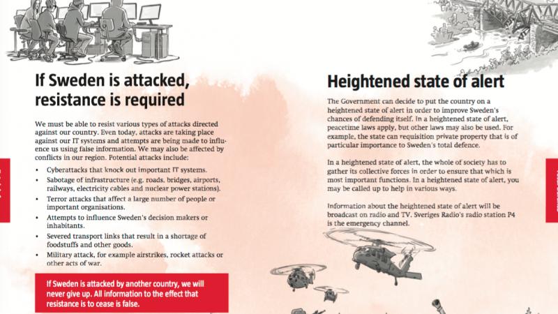 Fragment szwedzkiej broszury przygotowanej na wypadek wojny, źródło: Ministerstwo Obrony Szwecji
