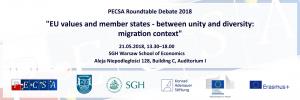 "PECSA Roundtable Debate 2018 ""EU values and member states – between unity and diversity: migration context"" @ SGH Szkoła Główna Handlowa"
