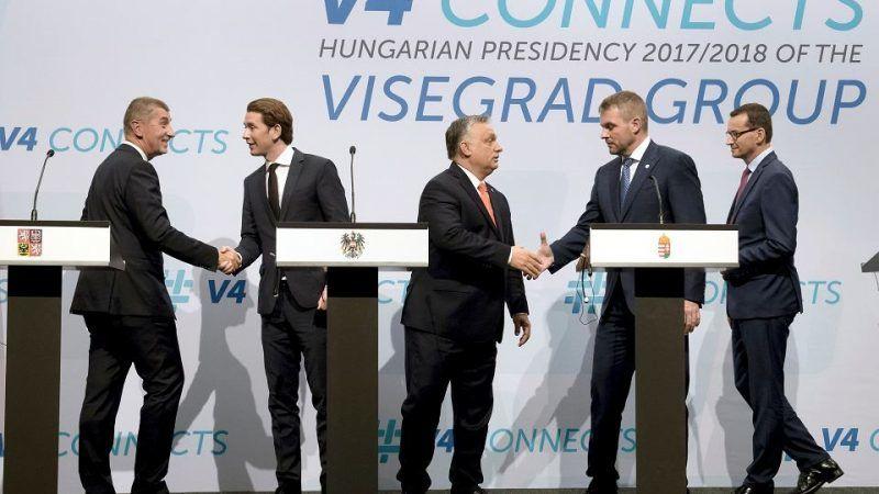 Spotkanie państw Grupy Wyszehradzkiej z kanclerzem Austrii Sebastianem Kurzem, Budapeszt, 21 czerwca 2018 r., źródło: Gazeta Wyborcza