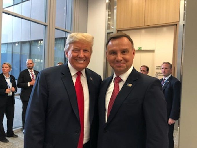 Prezydenci USA i Polski Donald Trump i Andrzej Duda na lipcowym szczycie w Brukseli 2018, źródło KPRP