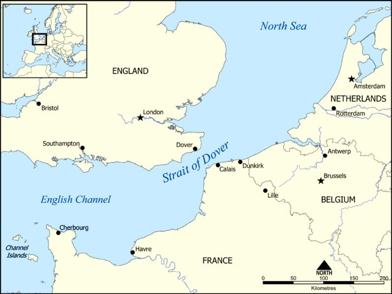 Kanał La Manche, źródło wikipedia by Norman Einstein