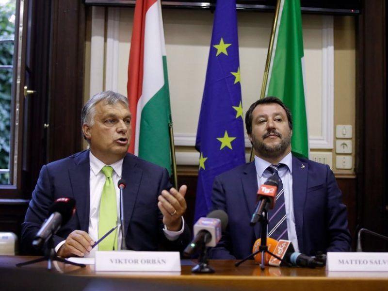 Viktor Orban Premier Węgier i Matteo Salvini lider Ligi i Minister Spraw Wewnętrznych Włoch