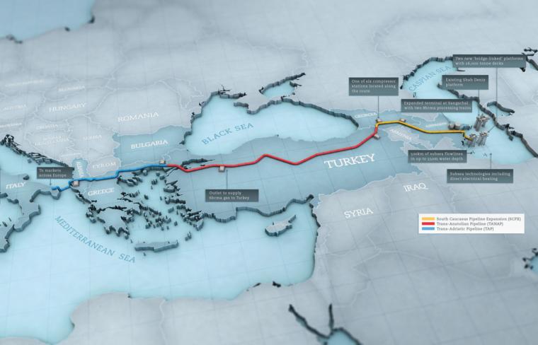 Mapa Południowego Korytarza Gazowego