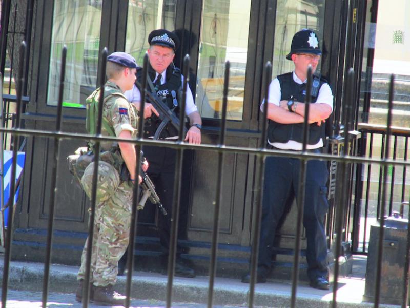 Policja i wojsko przed brytyjskim parlamentem, źródło: Flickr, fot. David Holt