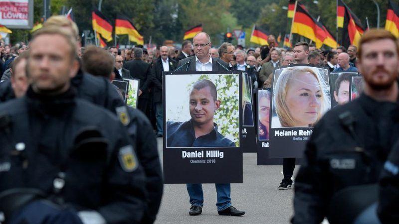 Demonstracja w Chemnitz 1 września 2018 r., źródło: Gazeta Wyborcza