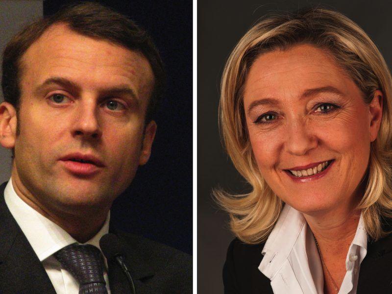 Emmanuel Macron i Marine Le Pen, źródło: Wikipedia, fot.(z lewej) Copyleft, (z prawej) Foto-AG Gymnasium Melle, mix: Furfur