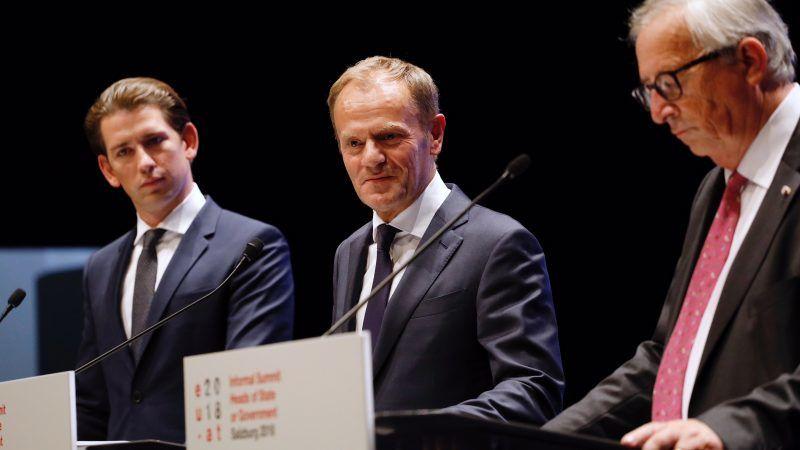 Kanclerz Austrii Sebastian Kurz, przewodniczący Rady Europejskiej Donald Tusk, przewodniczący Komisji Europejskiej Jean-Claude Juncker, źródło: European Council