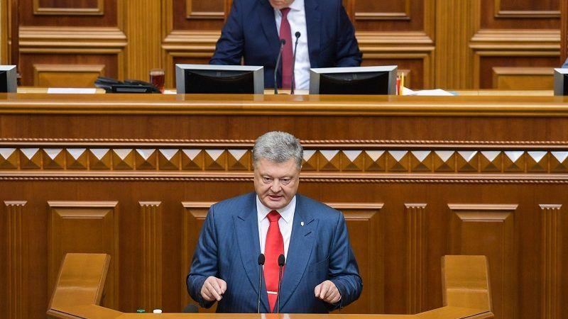 Prezydent Ukrainy Petro Poroszenko wygłasza orędzie w Radzie Najwyższej Ukrainy, źródło twitter
