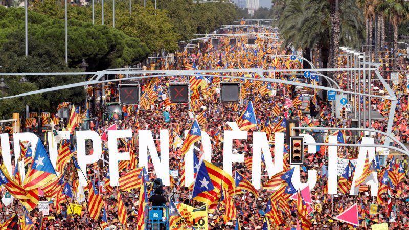 Demonstracja w Barcelonie 11 września 2018 r., źródło: EURACTIV.com