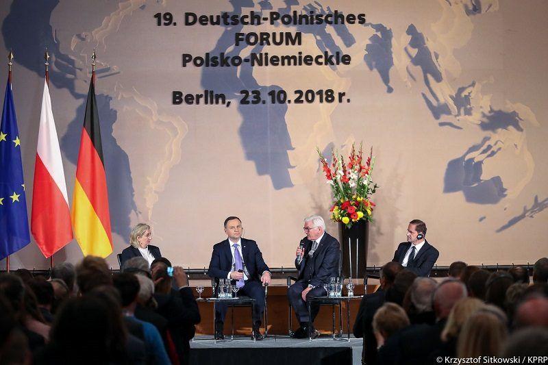 Prezydenci Andrzej Duda i Frank-Walter Steinmeier w czasie polsko-niemieckiego forum w Berlinie, źródło krzysztof Sitkowski KPRP