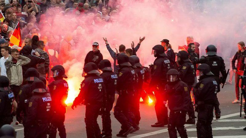Zamieszki w Chemnitz, 27.08.2018 r., źródło: Gazeta Wyborcza