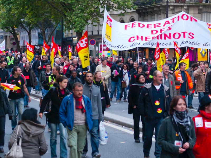Demonstracja związku zawodowego CGT, źródło: Flickr, fot. Rafael Lopez