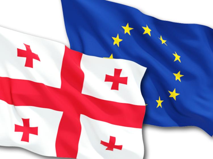 Flagi UE i Gruzji, źródło: EEAS.europa.eu