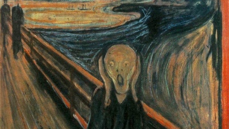 """Fragment obrazu """"Krzyk"""" Edvarda Muncha. https://samling.nasjonalmuseet.no/en/object/NG.M.00939#"""