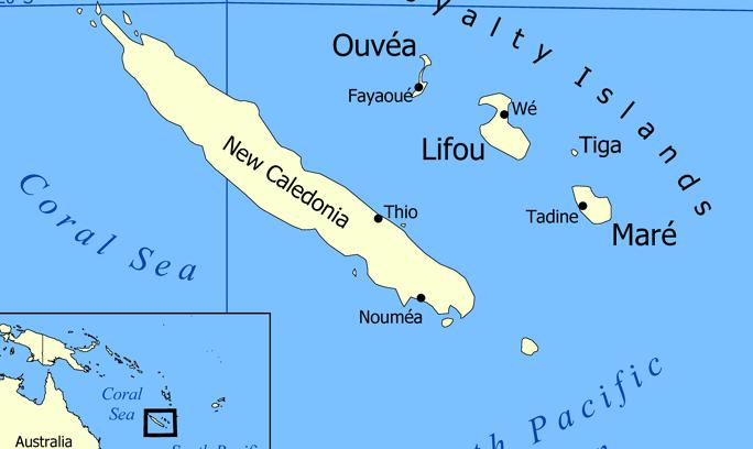 Nowa Kaledonia, źródło: Wikipedia, aut. Norman Einstein ( Creative Commons Attribution-Share Alike 3.0 Unported license)