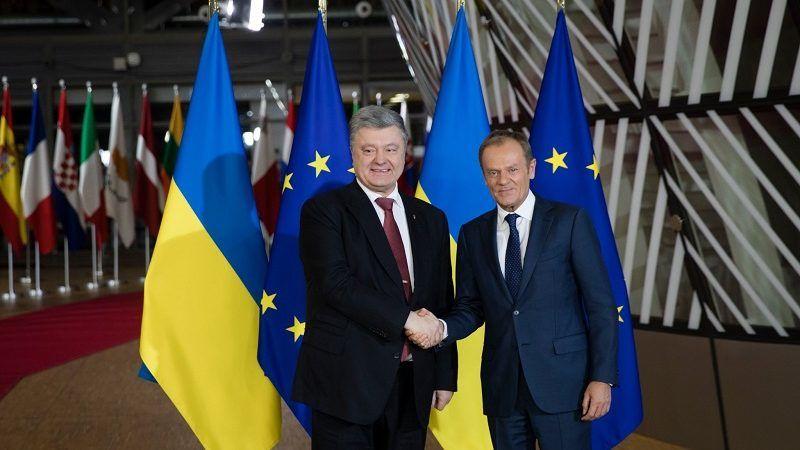 Prezydent Ukrainy Petro Poroszenko i szef Rady Europejskiej Donald Tusk w Brukseli, źródło twitter