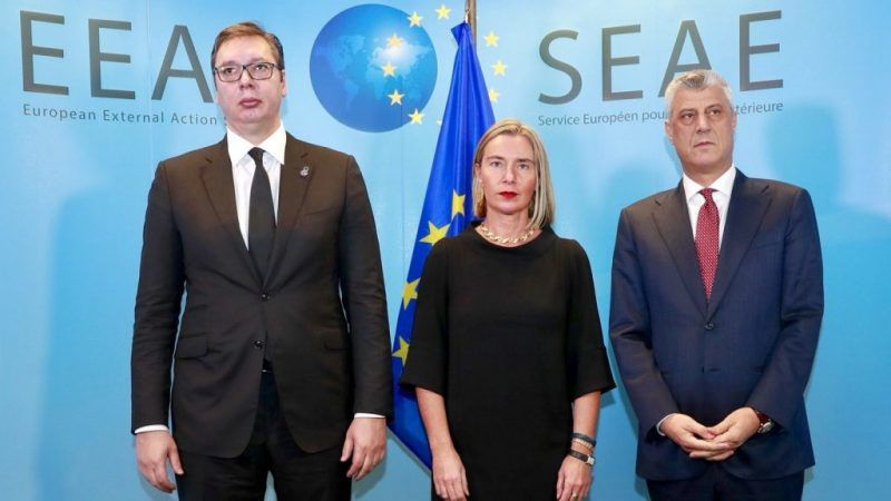 Prezydent Serbii Aleksandar Vucić, Wiceprzewodnicząca KE ds. zagranicznych i bezpieczeństwa oraz Prezydent Kosowa Hashim Thaci