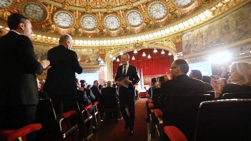 Donald Tusk na uroczystości rozpoczęcia pierwszej prezydencji Rumunii w UE, źródło facebook