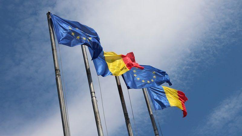 Flagi UE i Rumunii, źródło: MaxPixel