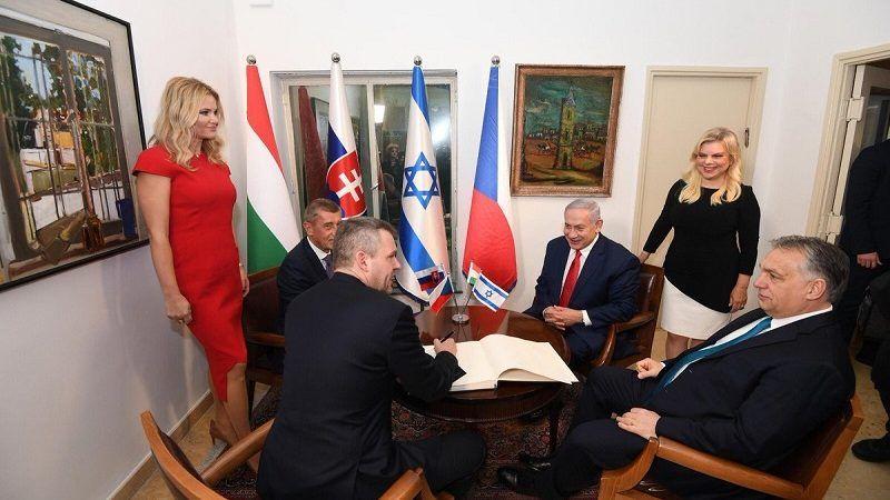 Spotkanie szefów rządów Czech, Słowacji, Węgier i Izraela w Jerozolimie (zamiast szczytu V4), źródło twitter Benjamina Netanjahu