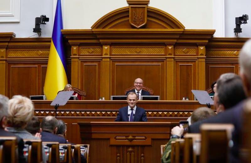 Przewodniczący Rady Europejskiej Donald Tusk przemawia w Radzie Najwyższej Ukrainy, źródło: Twitter/@eucopresident