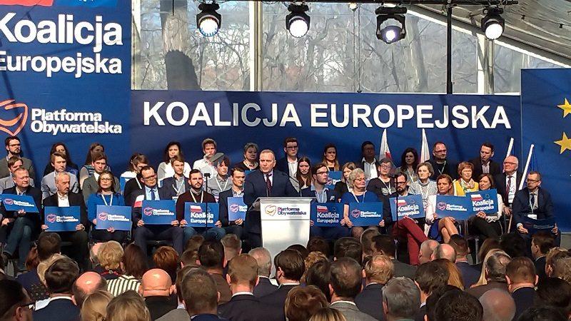 Lider PO Grzegorz Schetyna w kampanii wyborczej Koalicji Europejskiej do PE, źródło twitter PO