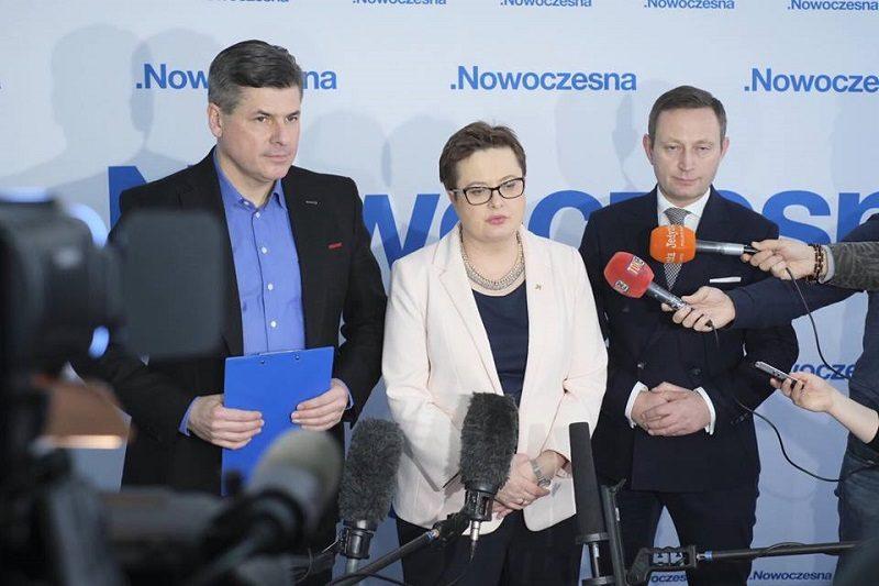 Paweł Pudłowski, Katarzyna Lubnauer, Paweł Rabiej z władz .Nowoczesnej, źródło fb nowoczesna.org