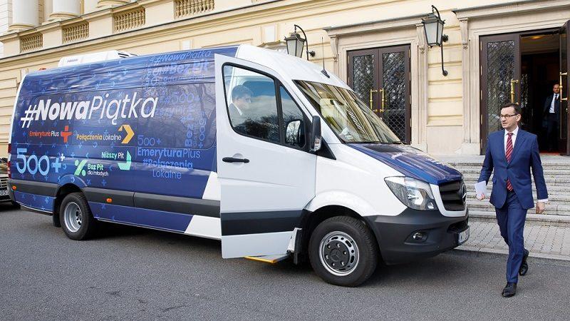 Premier Mateusz Morawiecki w kampanii wyborczej PiS do PE (+bus z nową piątką), źródło pis.org