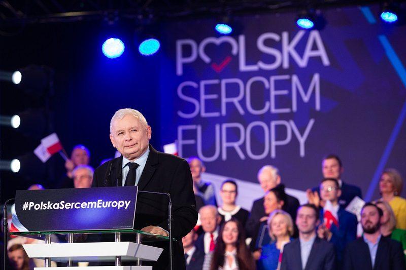 Prezes PiS Jarosław Kaczyński na konwencji wyborczej do PE`19