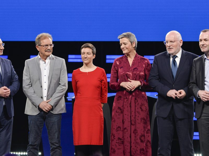 Od lewej: Jan Zahradil, Nico Cué, Ska Keller, Margrethe Vestager, Frans Timmermans, Manfred Weber, źródło: European Parliament, fot. Dominique Hommel (© European Union 2019)