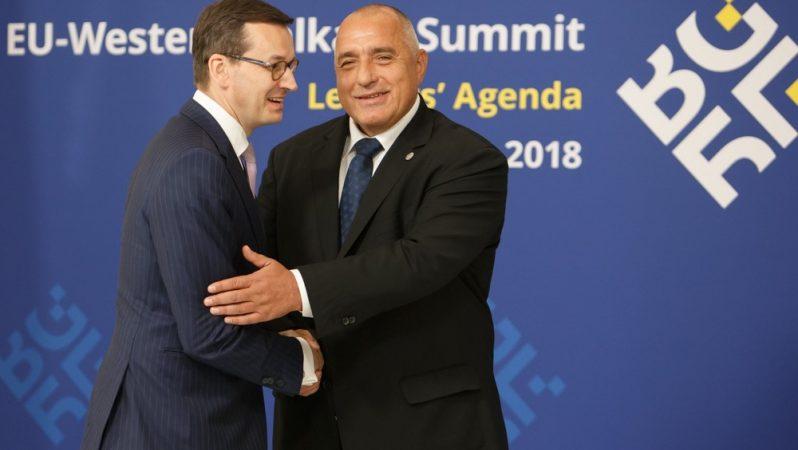 Mateusz Morawiecki i Bojko Borisow na szczycie UE-Bałkany Zachodnie w 2018 r., fot. KPRM