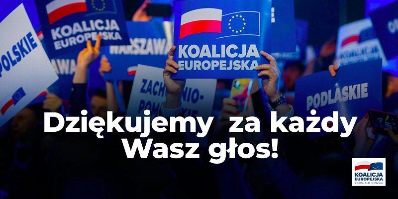 Wybory do PE - podziekowanie Koalicji Europejskiej, źródło twitter
