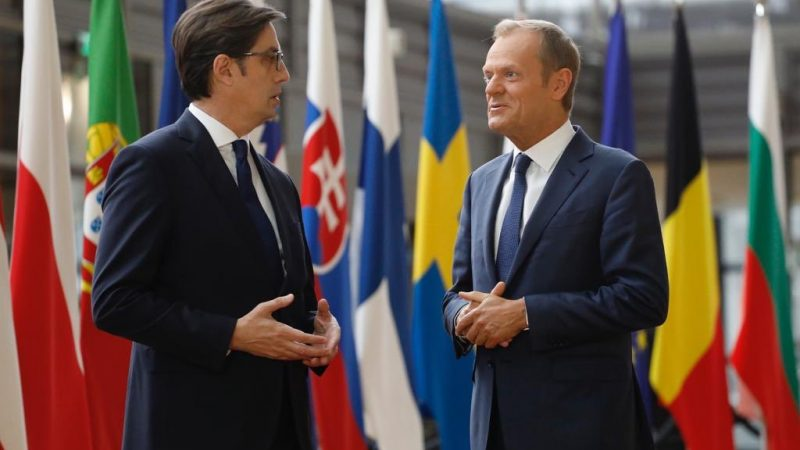 Spotkanie przewodniczącego Rady UE Donalda Tusk i prezydenta Macedonii Północnej Stevo Pendarovskiego (źródło: Rada Unii Europejskiej)