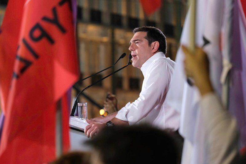 Premier Grecji Aleksis Tsipras na wiecu, źródło facebook Alexis Tsipras