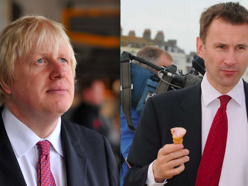 Boris Johnson i Jeremy Hunt, źródło Flickr/BackBoris2012 Campaign Team, fot. Andrew Parsons/i-Images (CC BY-ND 2.0) oraz Flickr/Department for Digital, Culture, Media and Sport (CC BY-NC-ND 2.0)