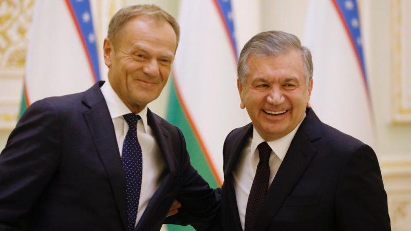 Przewodniczące Rady Europejskiej Donald Tusk i Preyzdent Uzbekistanu Shavkat Mirziyoyev [https://twitter.com/eucopresident/media]