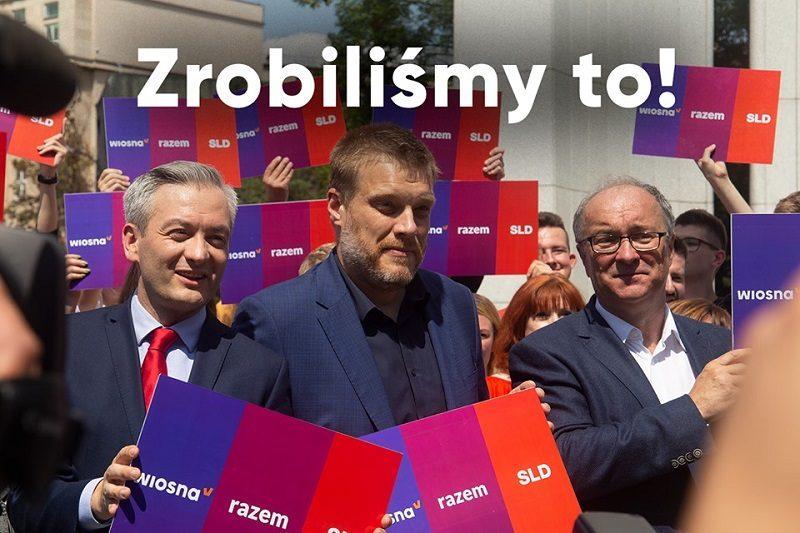 Koalicja Lewica - Robert Biedroń, Adrian Zandberg i Włodzimierz Czarzasty, źródło fb.wiosnabiedronia