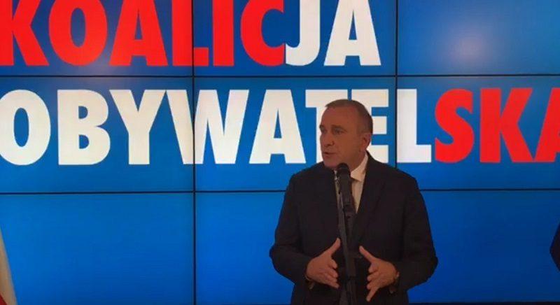 Lider PO Grzegorz Schetyna po decyzji o utworzeniu Koalicji Obywatelskiej, źródło twitter PO