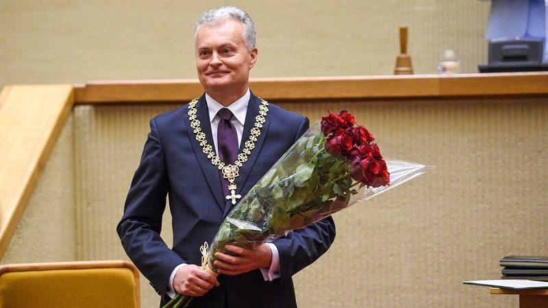 Prezydent Litwy Gitanas Nausėda po zaprzysiężeniu, źródło twitter